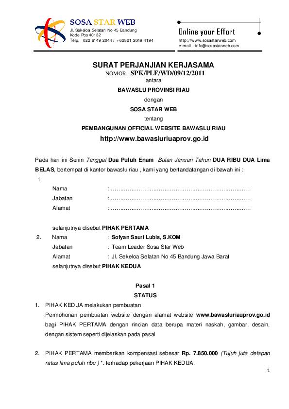 Contoh Perjanjian Kerjasama Pembuatan Website Sofyan Sauri