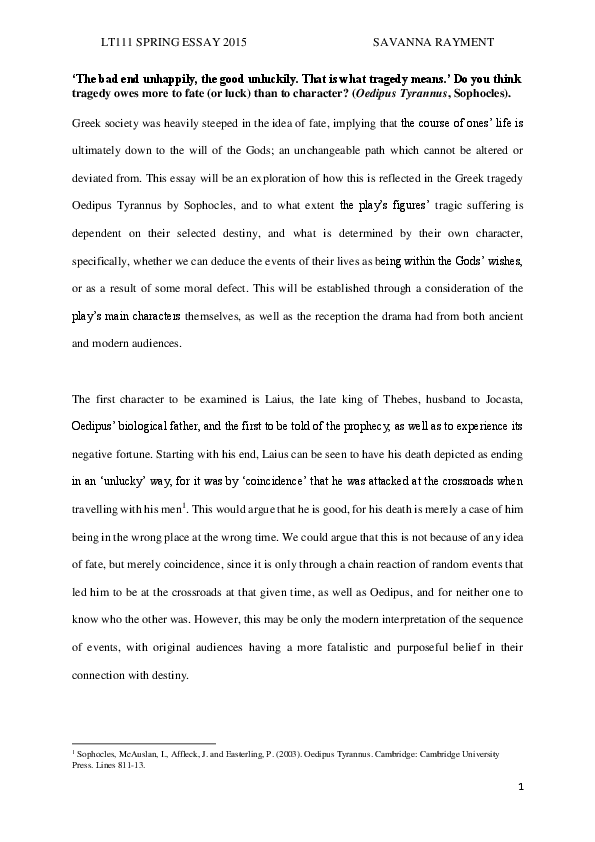 Essay Proposal Examples Pdf Health Care Essay Topics also Computer Science Essays Exploring Fate Vs Character In Sophecles Oedipus Rex  Savanna  Essay On English Literature