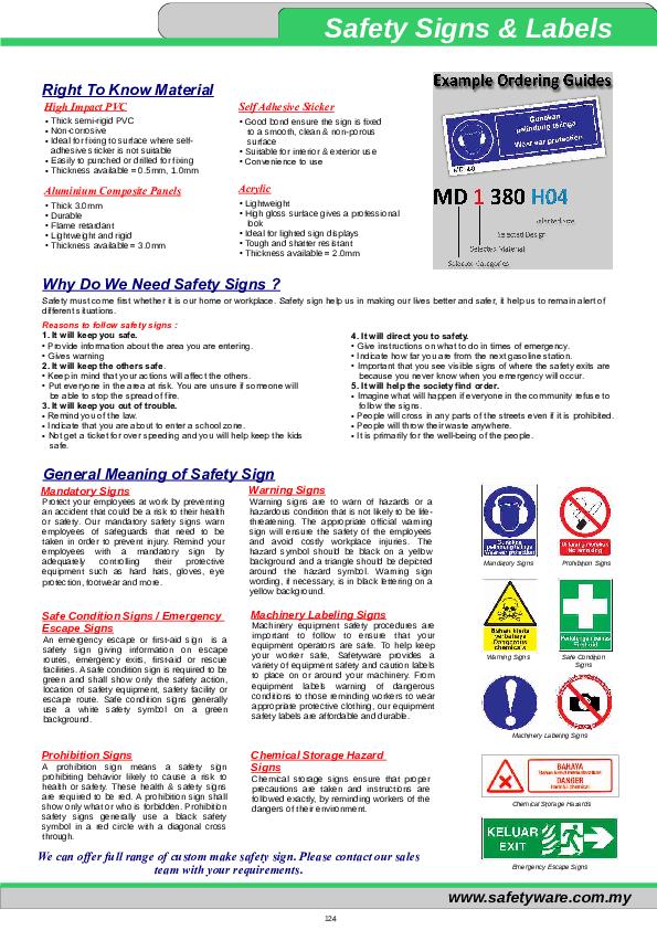 PDF) Mandatory Signs Warning Signs Prohibition Signs Safe