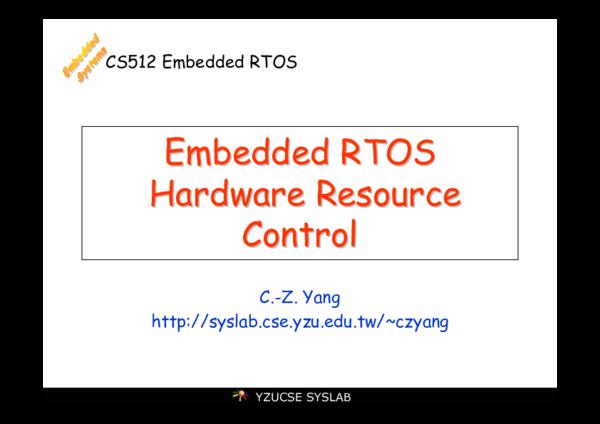 PDF) CS512 Embedded RTOS Embedded RTOS Embedded RTOS Hardware