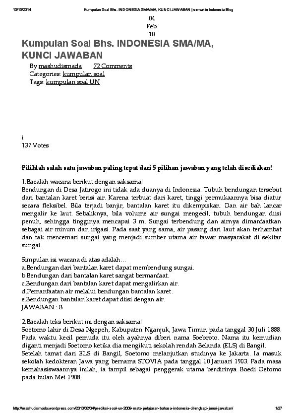 Pdf Kumpulan Soal Bhs Indonesia Sma Ma Kunci Jawaban Semakin Indonesia Blog Ikbal Darmawan Academia Edu