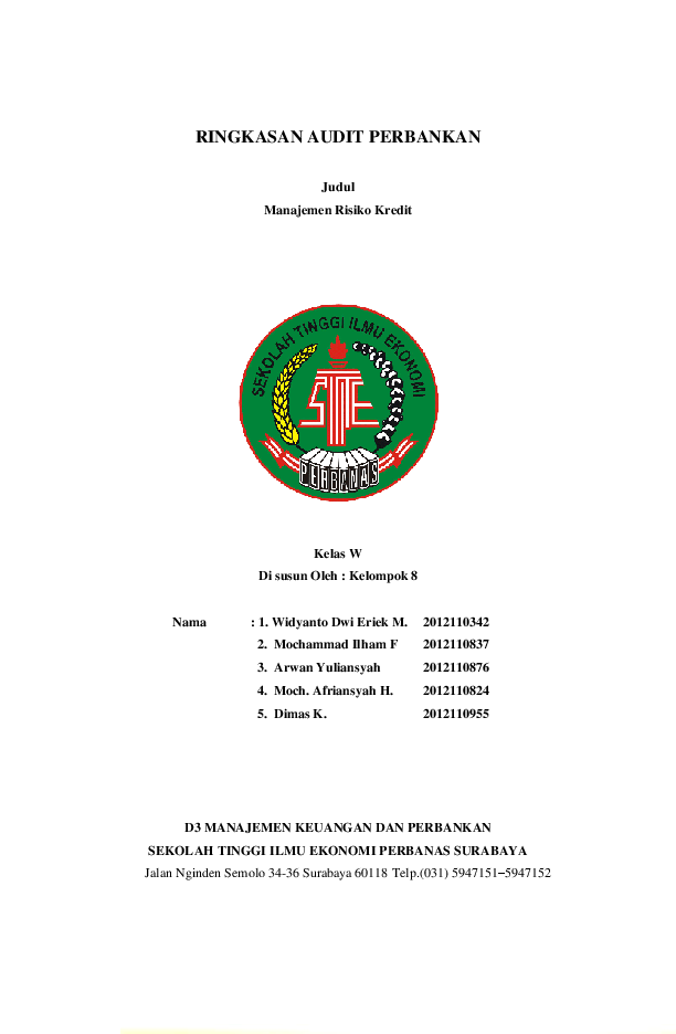 PDF) Manajemen Risiko Kredit | Widyanto Dwi Eriek Mahanani ...
