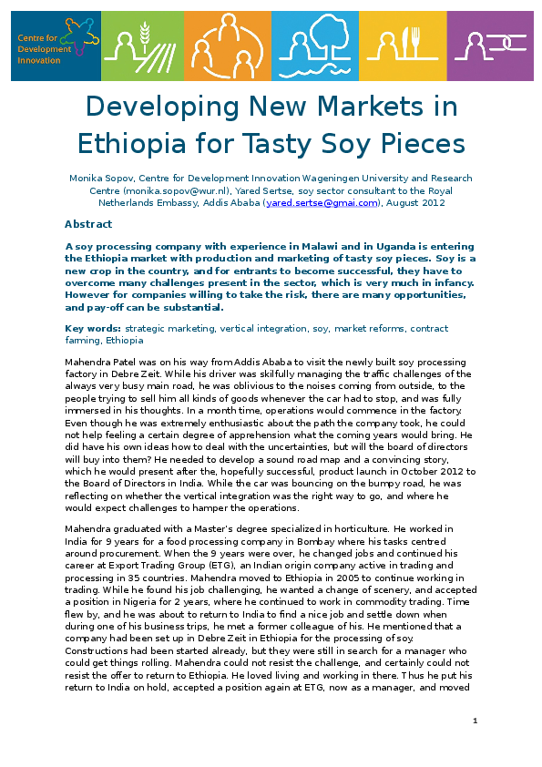DOC) Developing New Markets in Ethiopia for Tasty Soy Pieces
