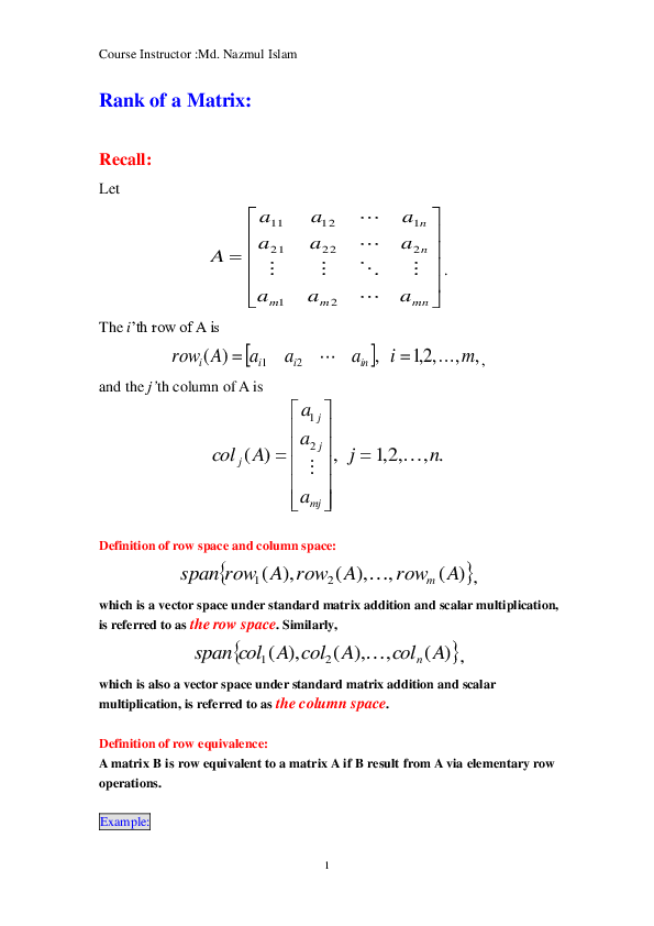 PDF) MAT 219 Rank of the Matrix | MD NAZMUL ISLAM - Academia edu