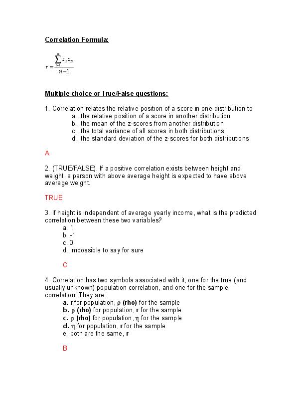 DOC) Correlation Formula: Multiple choice or True/False questions
