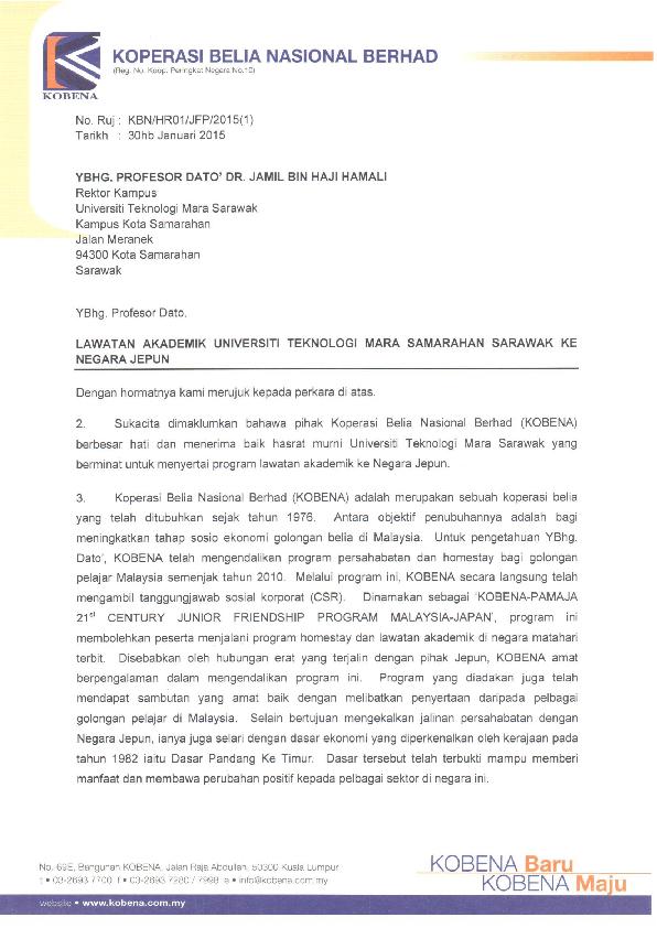 Pdf Surat Lawatan Akademik Ui Tm Samarahan Sarawak Ke Negara Jepun 1 Puteh Ateh Academia Edu