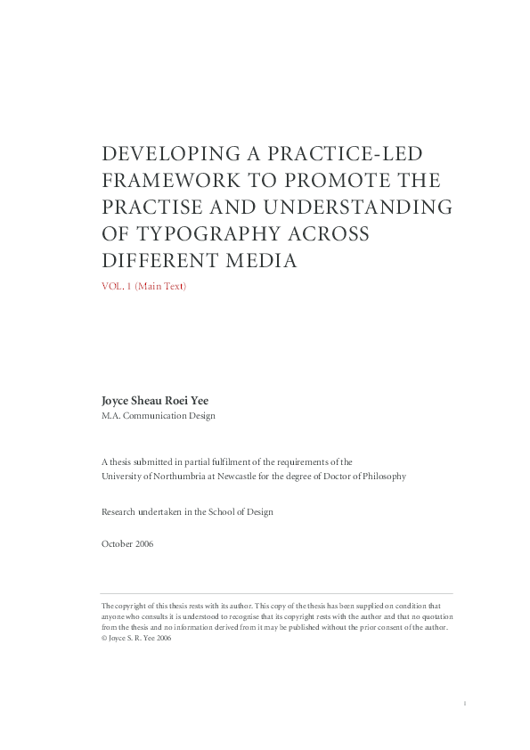 PDF) Developing a Practice-Led Framework to Promote the