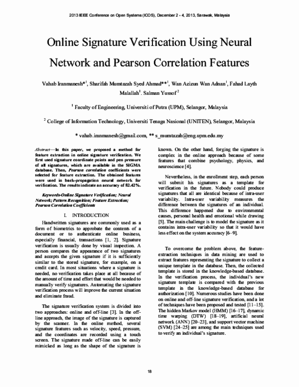 PDF) Online Signature Verification using Neural Network and