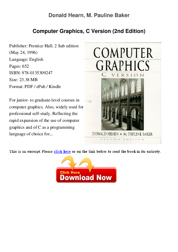 book computer hearn donald graphics pdf by