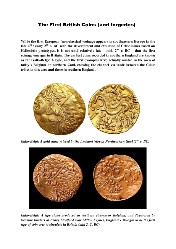 Observations on the First British Coins (and forgeries