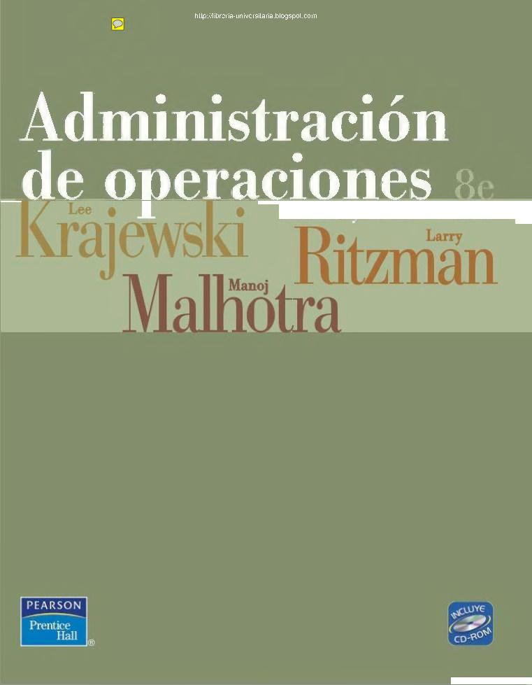 Administracion De Operaciones 8va Edicion De Krajewski Ritzman