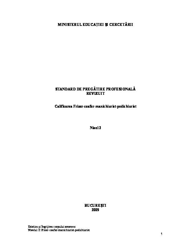 Doc Standard De Pregatire Profesionala Frizer Coafor Catalin