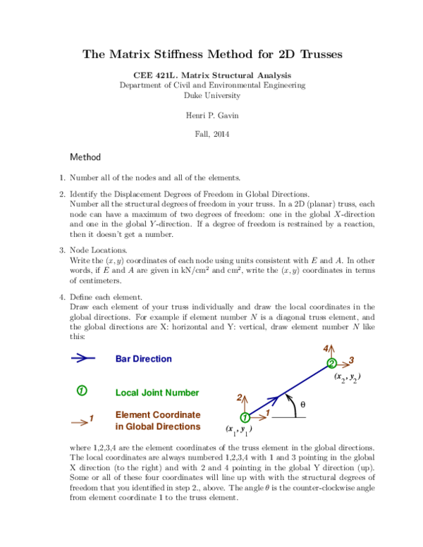 PDF) The Matrix Stiffness Method for 2D Trusses | Carlos