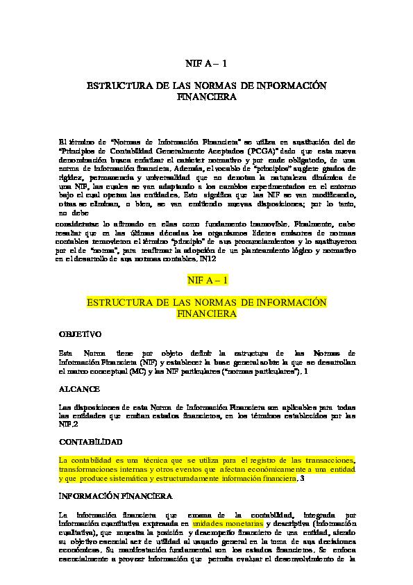 Doc Nif A 1 Estructura De Las Normas De Información