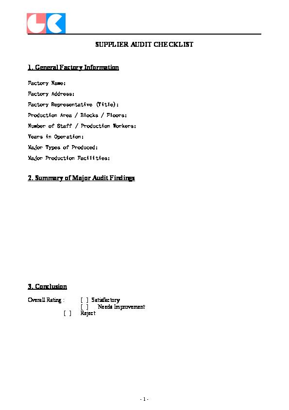 DOC) SUPPLIER AUDIT CHECKLIST 1  General Factory Information