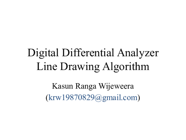 PPT) Digital Differential Analyzer Line Drawing Algorithm