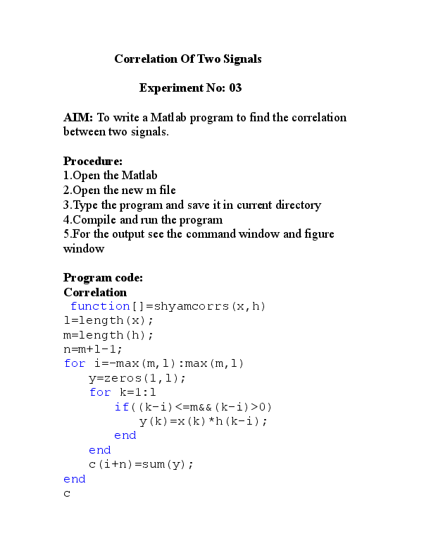 PDF) To write a Matlab program to find the correlation