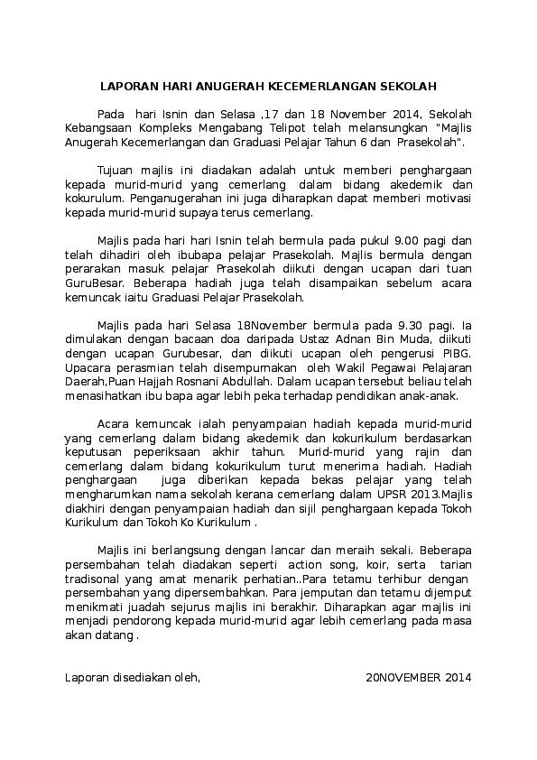 Doc Hari Anugerah Cemerlang Laporan Zubaidah Abu Bakar Academia Edu
