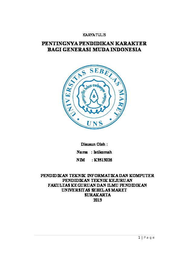 Doc Pendidikan Karakter Untuk Generasi Muda Istiqma Ardyanto Academia Edu