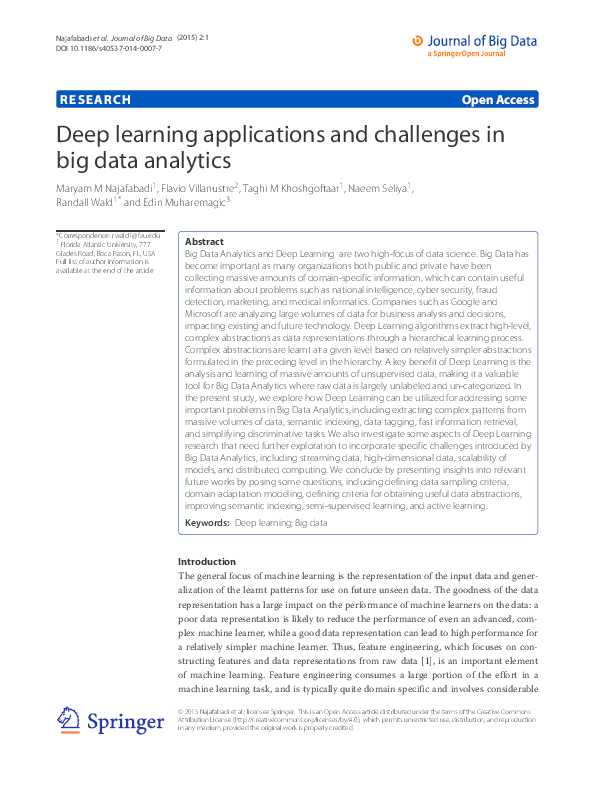 PDF) Deep learning applications and challenges in big data