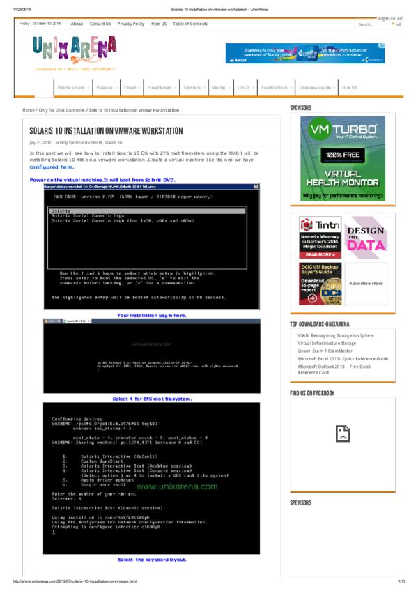 PDF) Solaris 10 installation on vmware workstation   Ahnaf