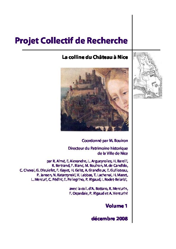 4424683e0df37f BOUIRON (Marc) coord. – Projet Collectif de Recherche. La colline du ...
