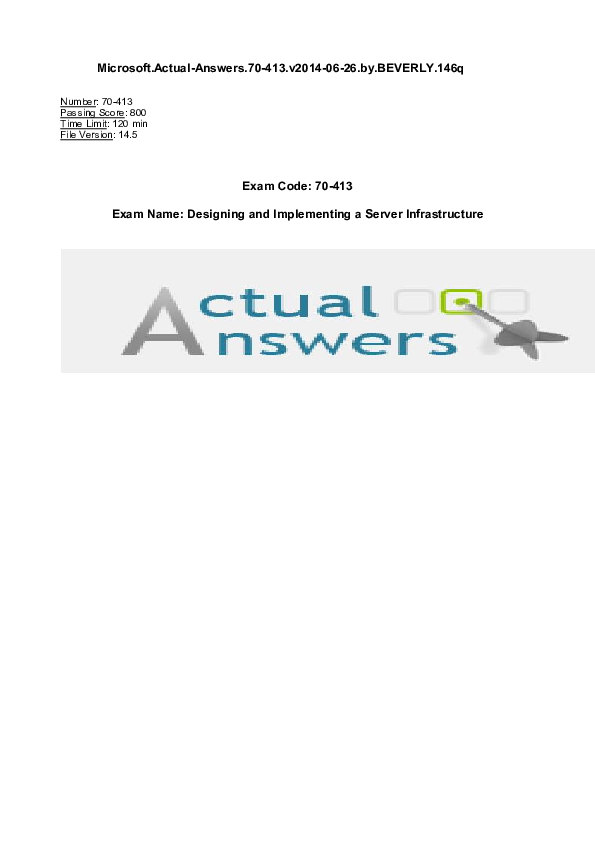 PDF) Microsoft Actual-Answers 70-413 v2014-06-26 by BEVERLY