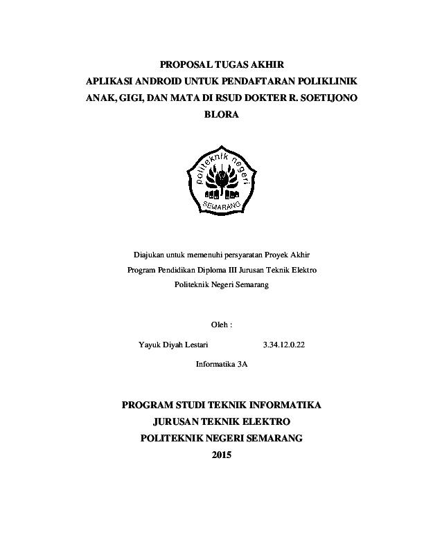 Pdf Proposal Tugas Akhir Program Studi Teknik Informatika