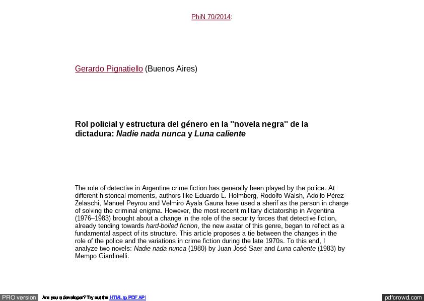 Pdf Rol Policial Y Estructura Del Género En La Novela