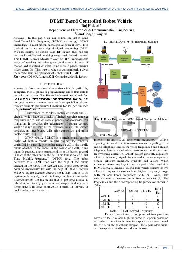 PDF) DTMF Based Controlled Robot Vehicle   Raj Hakani