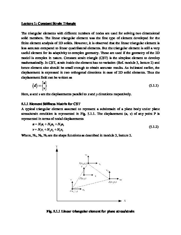 PDF) Lecture 1: Constant Strain Triangle | Sri Ram