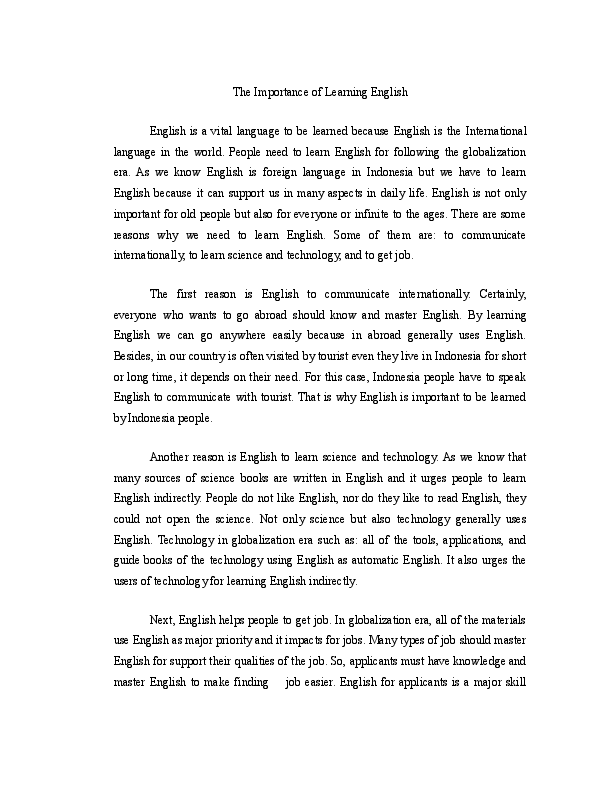 Proposal Essay Topic Ideas  Communications Technology Essay also Family Essay Doc Essay The Importance Of Learning English  Zaara  Essay Daily Routine