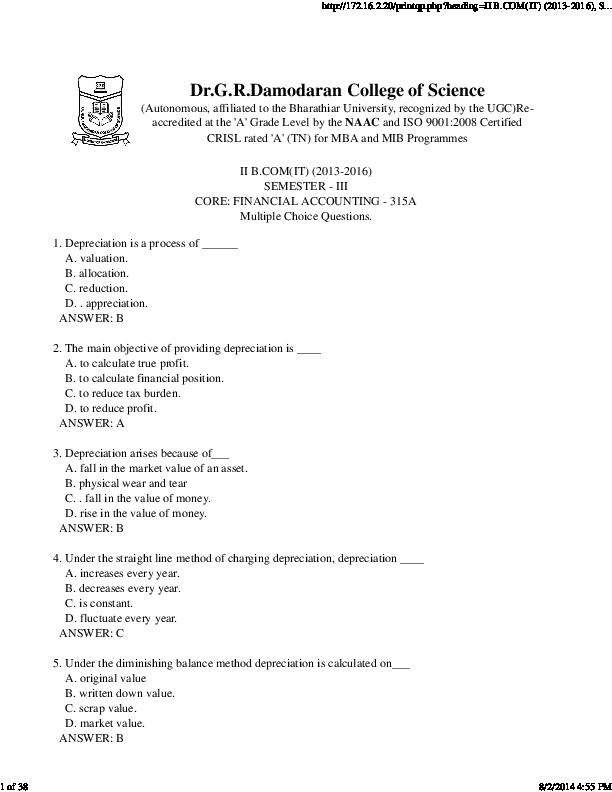 PDF) SEMESTER- III CORE: FINANCIAL ACCOUNTING- 315A Multiple Choice