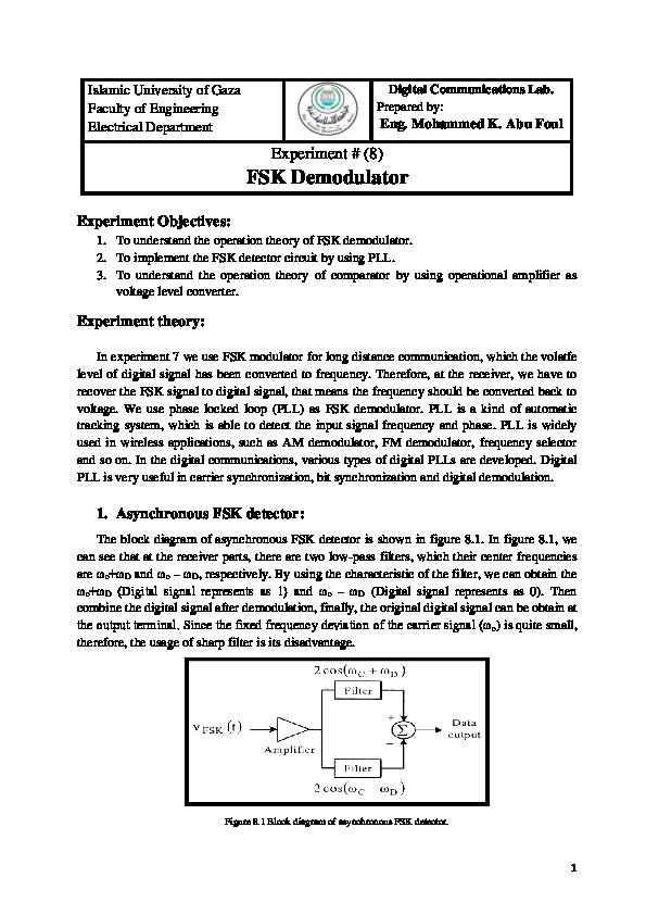 Fsk Modulator Circuit Diagram   Eng Mohammed K Abu Foul Experiment 8 Fsk Demodulator