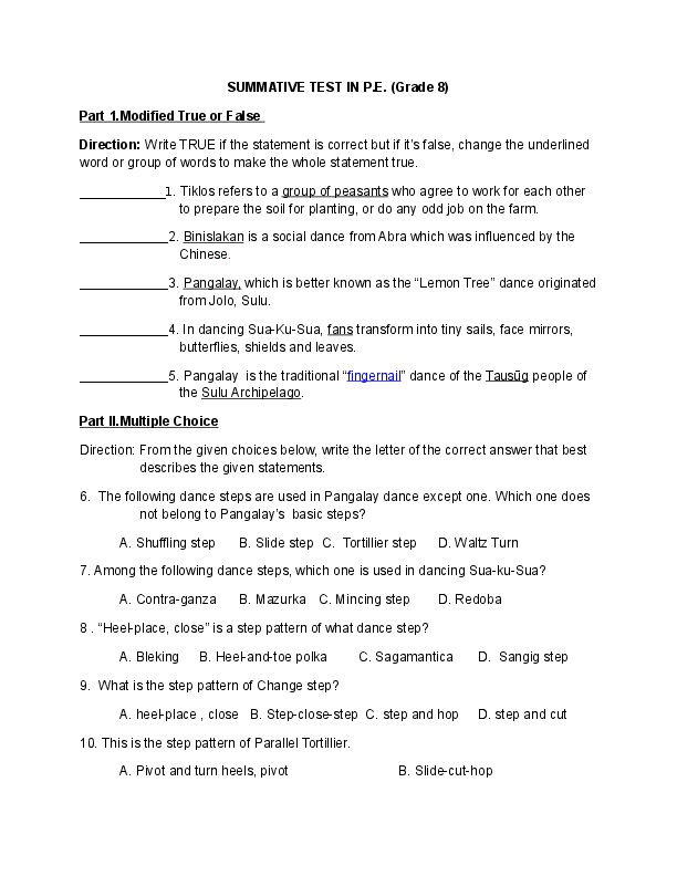 DOC) SUMMATIVE TEST IN P E  (Grade 8) Part 1 Modified True or False