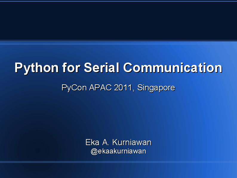 PDF) Python for Serial Communication Python for Serial