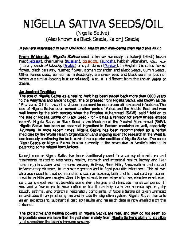PDF) Nigella Sativa, Black Seed, Kalonji Seeds and Oil