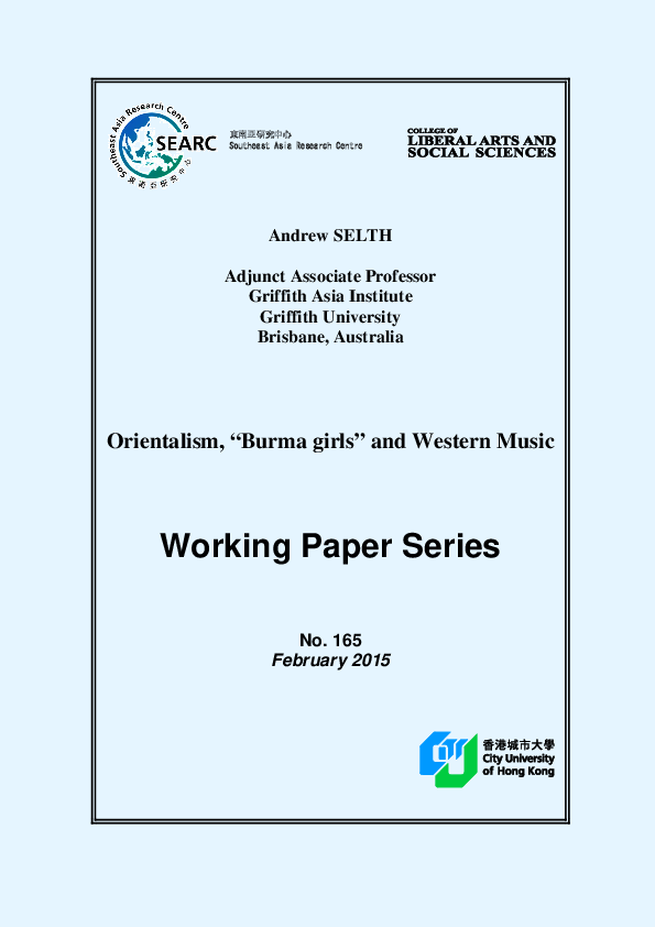 "PDF) Orientalism, ""Burma girls"" and Western Music"