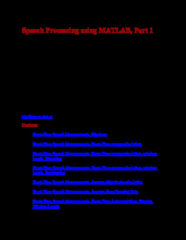 DOC) Speech Processing using MATLAB, Part 1 | Rana Taimoor