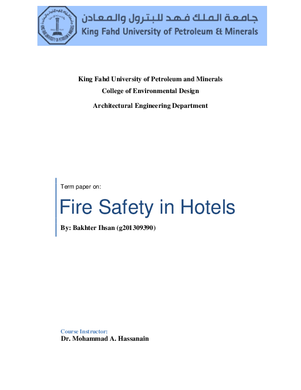 PDF) Fire Safety in hotels | Eng Bakhter Ihsan - Academia edu