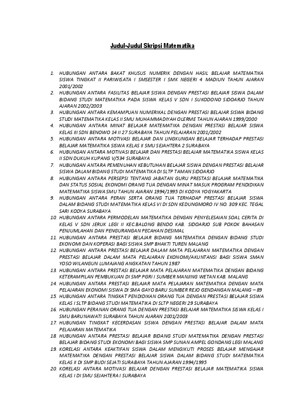 Skripsi Matematika Murni Pdf Pejuang Skripsi