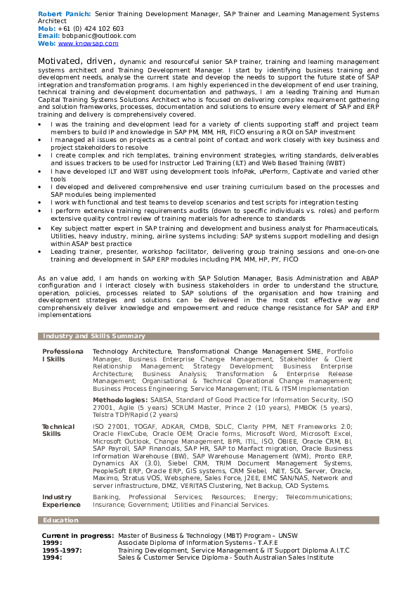 DOC) Resume - SAP Trainer and Knowledge Development Manager