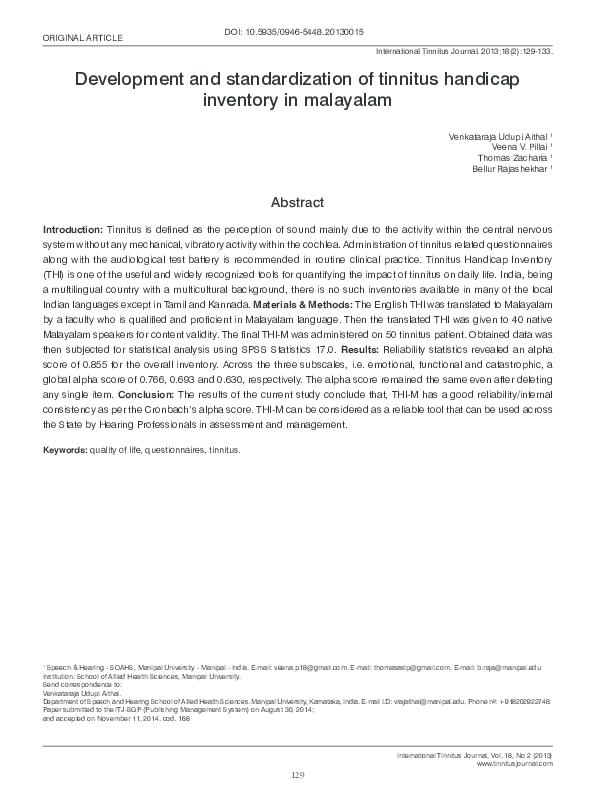 PDF) Development and standardization of Tinnitus Handicap