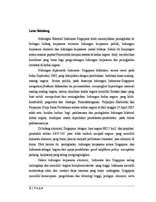 DOC) Hubungan Bilateral Indonesia dengan Singapura | Ahmad
