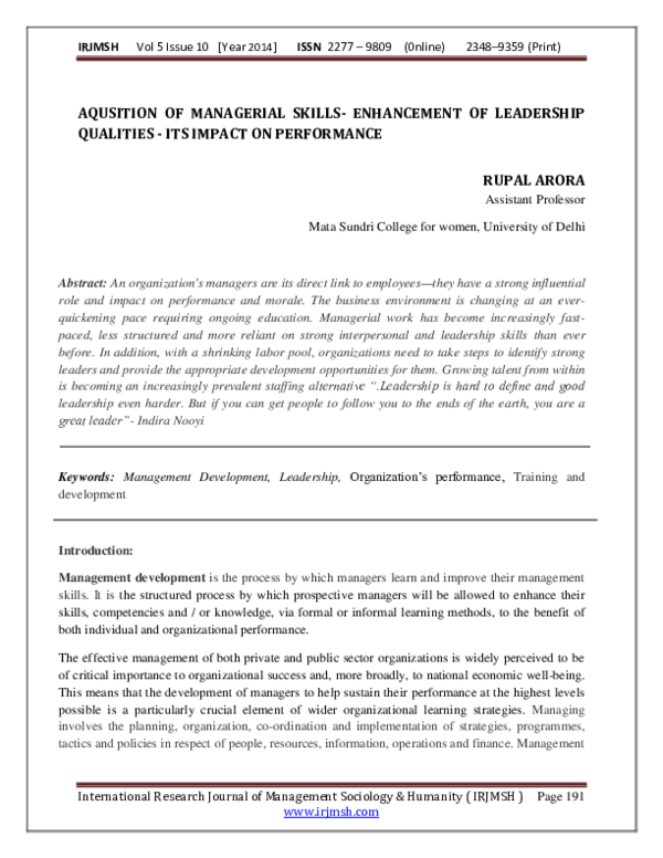 PDF) AQUSITION OF MANAGERIAL SKILLS- ENHANCEMENT OF