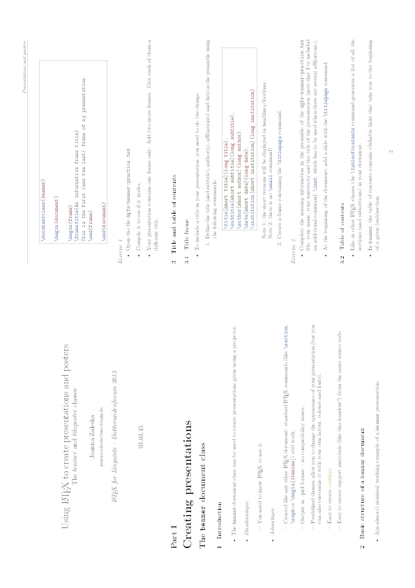 Using LATEX to create presentations and posters (handout) | Joanna