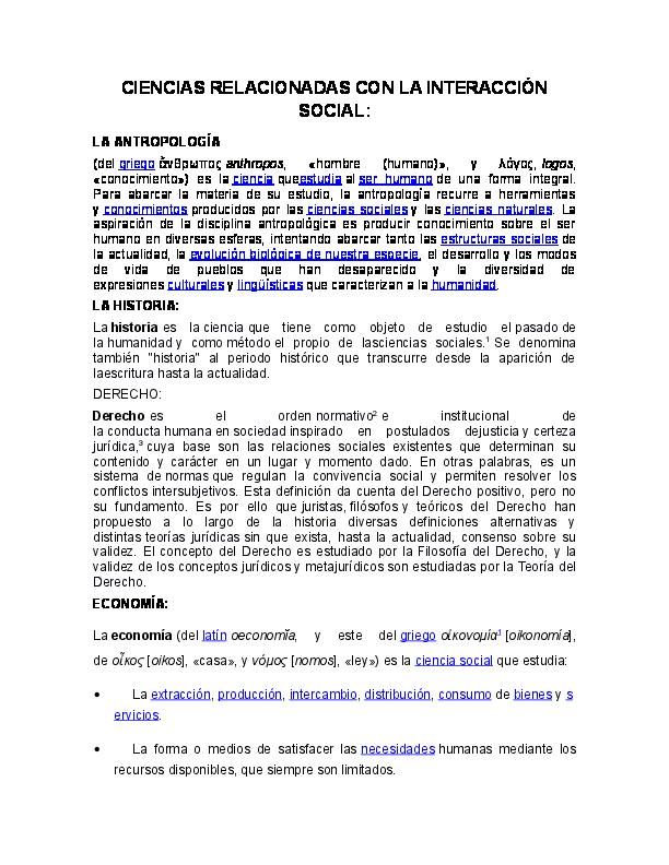 Doc Ciencias Relacionadas Con La Interaccion Social Romeito Lazaro Academia Edu