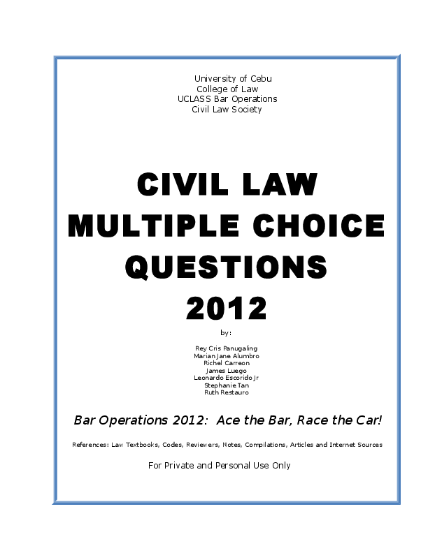 DOC) Civil Law MCQ | thomas redoble - Academia edu