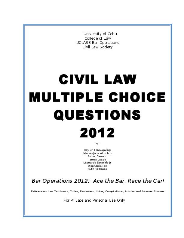DOC) Civil Law MCQ | thomas redoble - Academia edu