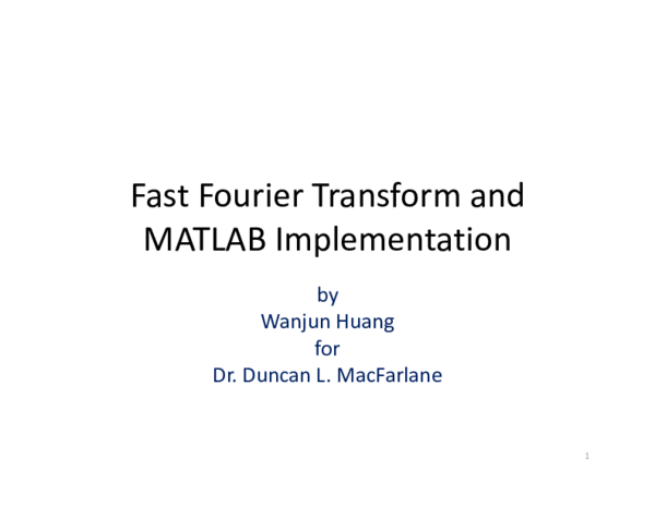 PDF) Fast Fourier Transform and MATLAB Implementation | g